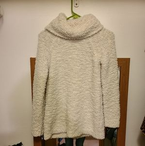 Womens white fluffy cowl neck sweater
